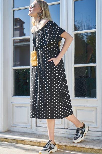 765ffc06b BuyInvite | Boutiquen Polka Dot Strapless Dress