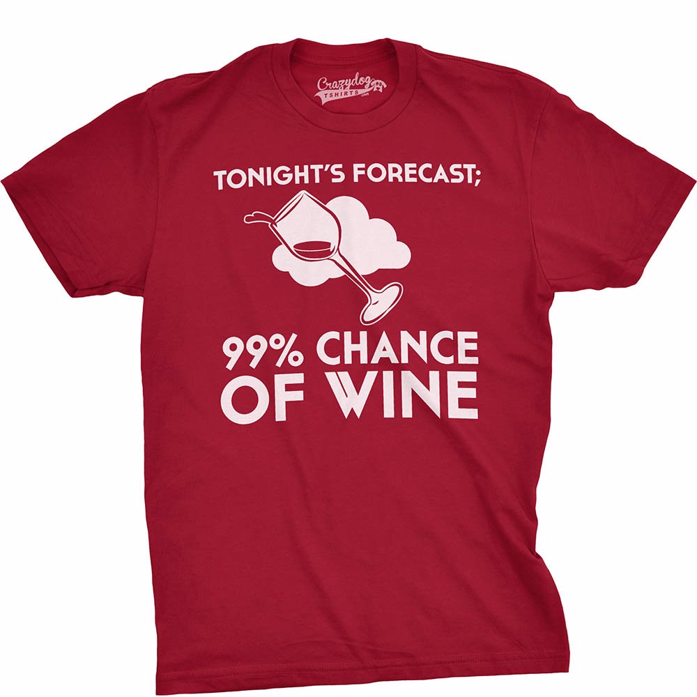35fca16e9 Preview with Zoom. Crazy Dog T-Shirts. 100% Cotton Forecast Wine Mens T-Shirt  Cardinal Red