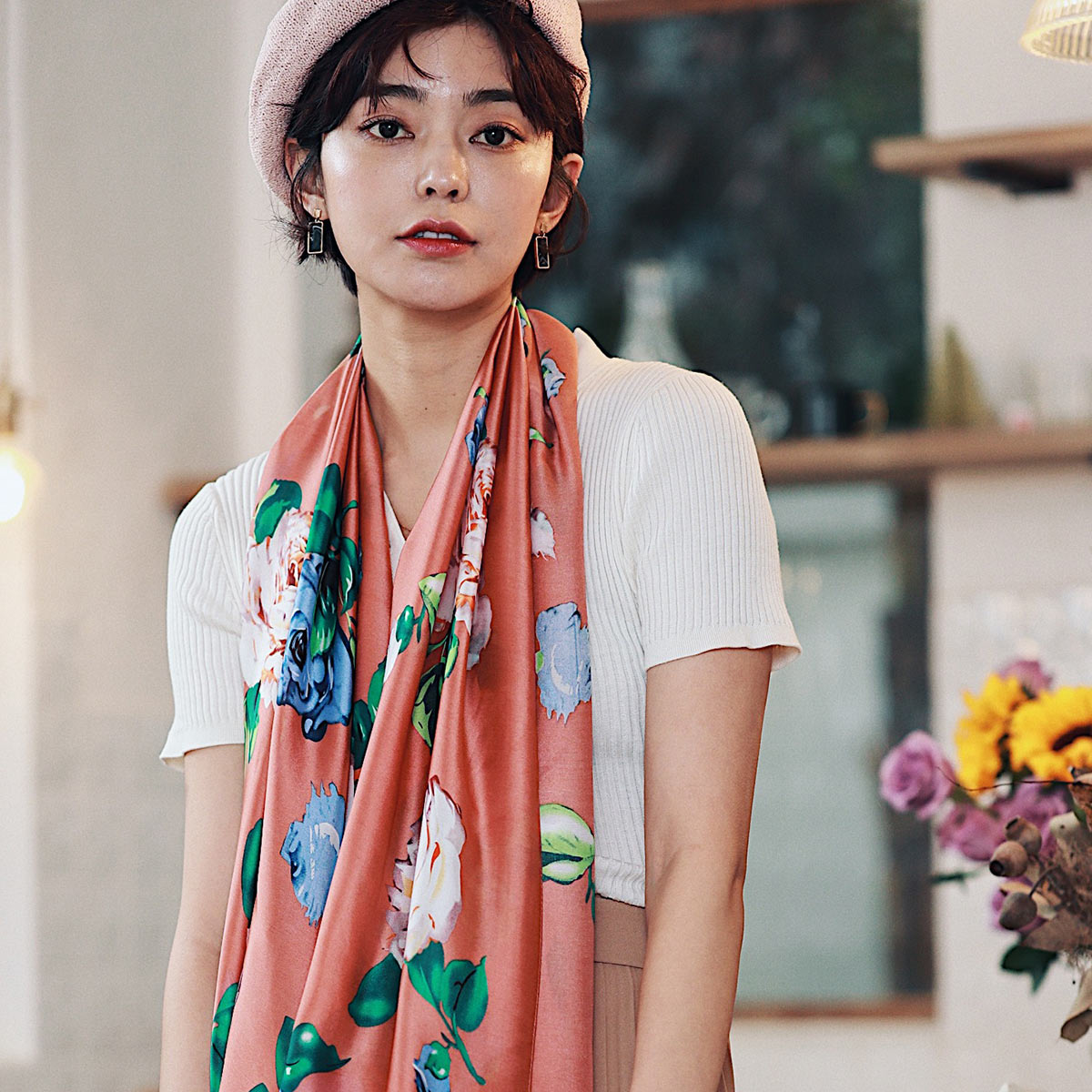 Multicolor Print Polyester Polyester Scarf Brickamp; EIH29WD