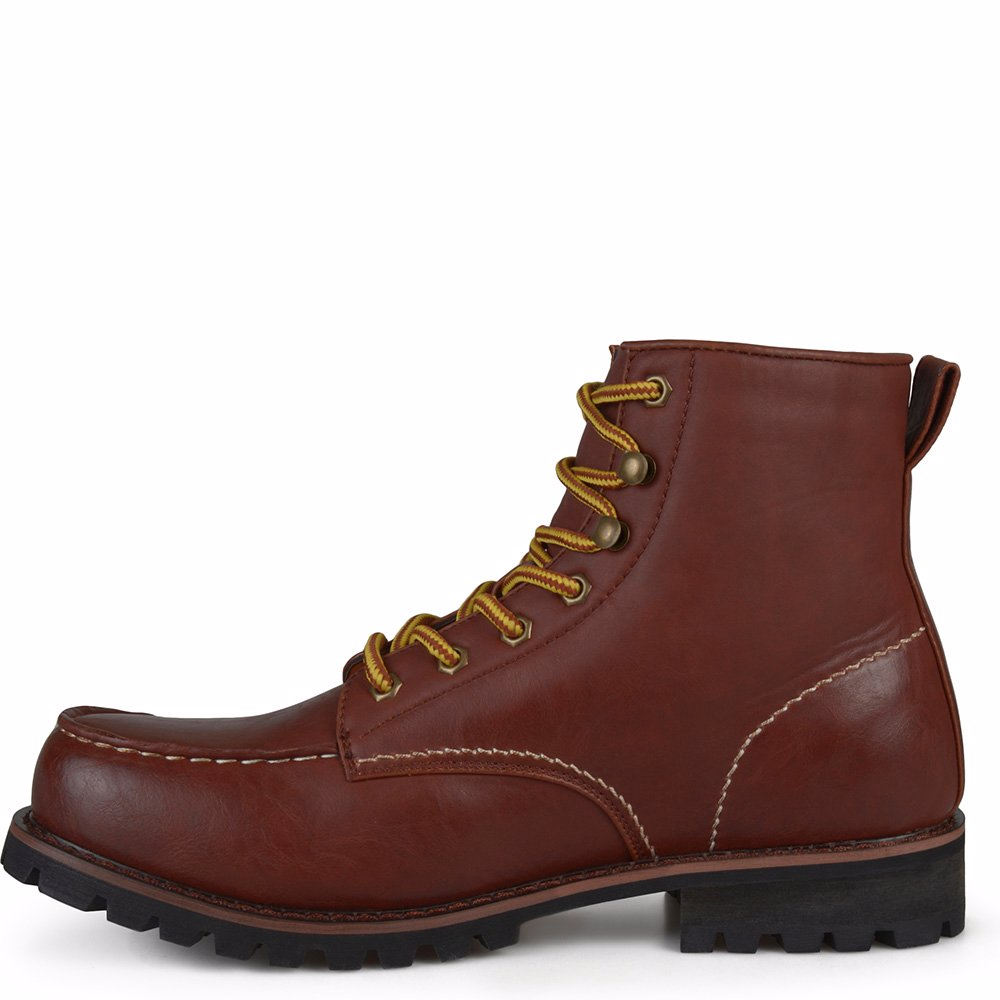 ed73098eff16b Men's Lace-up High Top Moc Toe Work Boots
