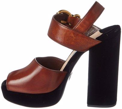 328d6f25a507 Sold Out. Prada. Prada Leather   Velvet 130 Platform Sandal