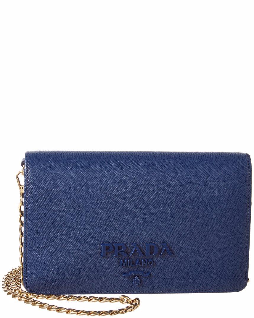 e0d6523d877e MYSALE | Prada Prada Monochrome Saffiano Leather Wallet on Chain