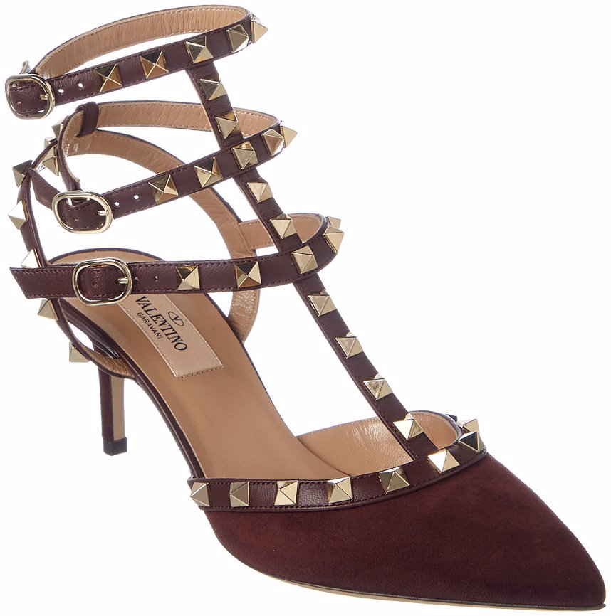 61c37085f79 Preview with Zoom. Valentino. Valentino Rockstud Leather   Suede Ankle  Strap Pump