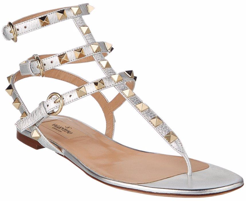Rockstud Ankle Strap Metallic Leather Sandal