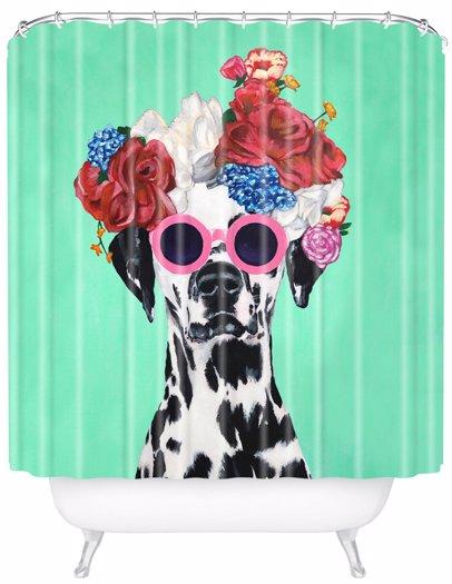 Mysaleph Deny Designs Flower Power Dalmatian Shower Curtain