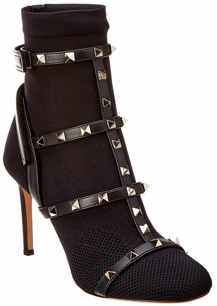 Valentino Rockstud Stretch Knit Leather Trimmed Sock Bootie
