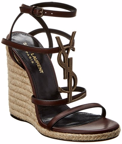 c640230843 Saint Laurent Cassandra 110 Leather Wedge Sandal