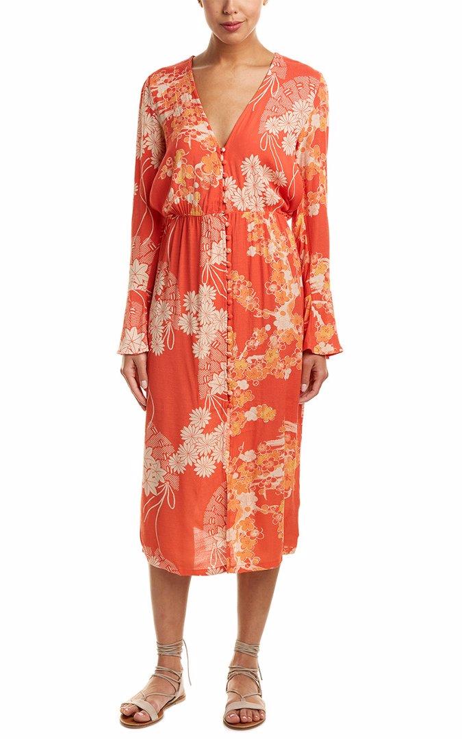 so cheap purchase cheap affordable price Mixed Print Twist Midi Dress