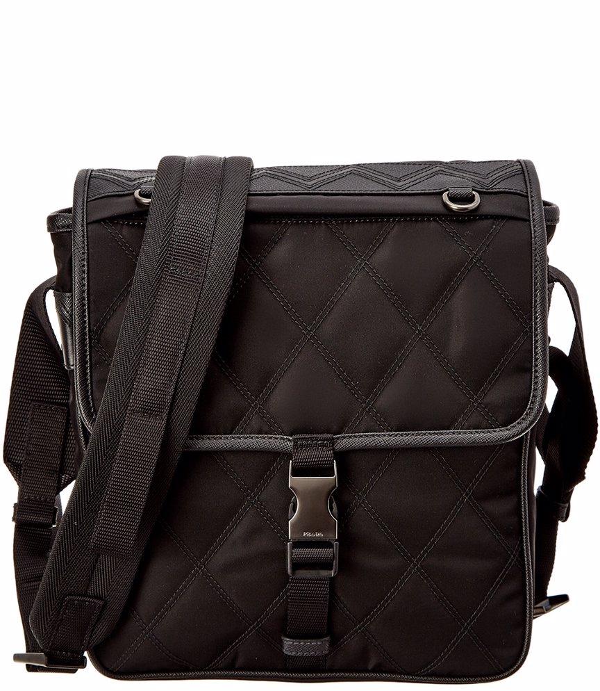 c187c805e866 MYSALE | Prada Prada Quilted Saffiano Leather-Trim Messenger Bag