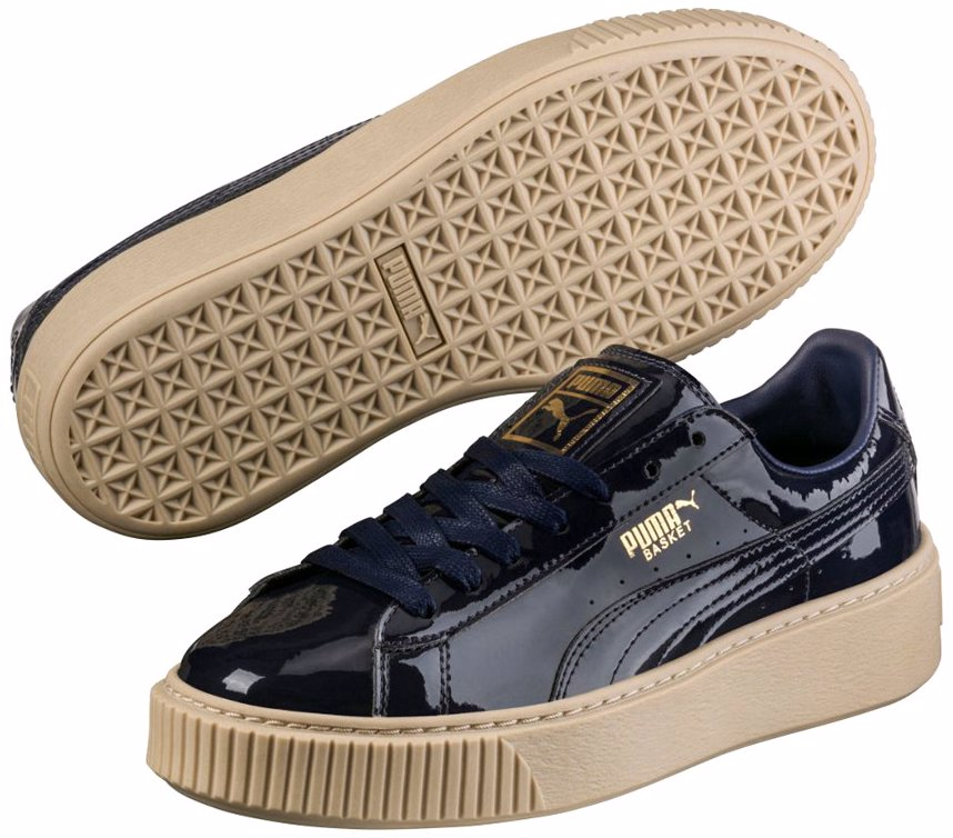 uk availability e230f 063b3 PUMA Women's Basket Platform Patent Sneaker
