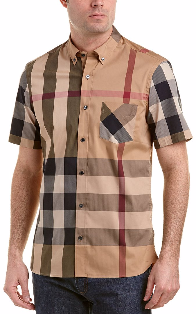 Preview with Zoom. Loading... Burberry. Burberry Thornaby Short-Sleeve  Check Stretch Cotton Blend Shirt c7ad4ca2d7