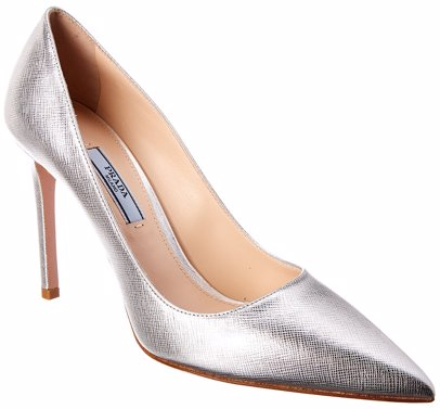 aeee3ae60 BuyInvite | Prada Prada 100 Metallic Saffiano Leather Pointy-Toe Pump
