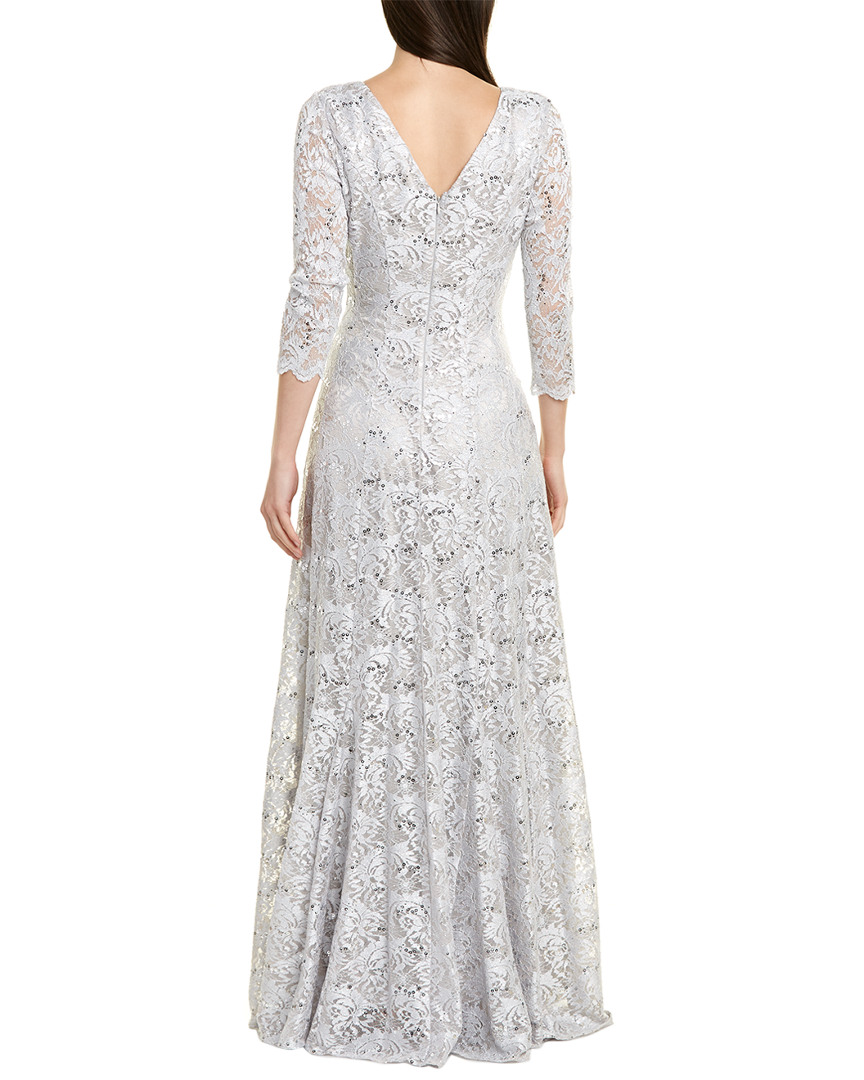 Tahari by Arthur S Levine Womens Glitter Lace Gown