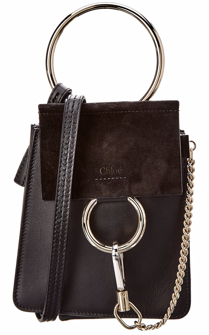 9b16398f Chloe Faye Small Leather & Suede Bracelet Bag