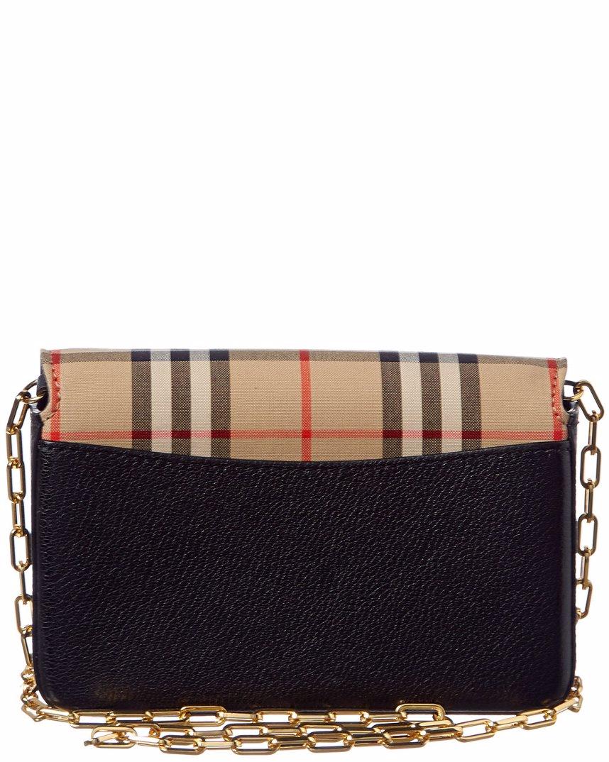 6cb24cbaa87 Burberry Mini D-Ring Chain Vintage Check & Leather Shoulder Bag