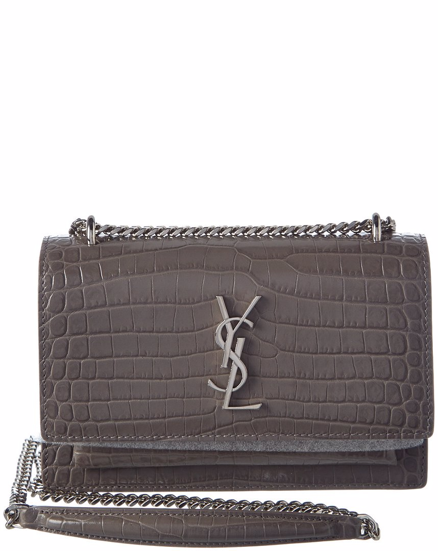 Preview with Zoom. Saint Laurent. Saint Laurent Sunset Monogram Croc  Embossed Shiny Leather Wallet on Chain 7e404330fe99e