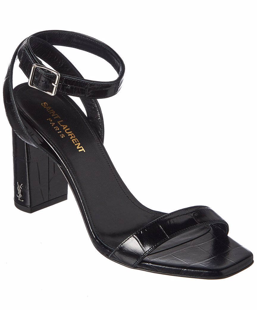 137de438dab Preview with Zoom. Loading... Saint Laurent. Saint Laurent LouLou 95 Ankle  Strap Embossed Leather Sandal