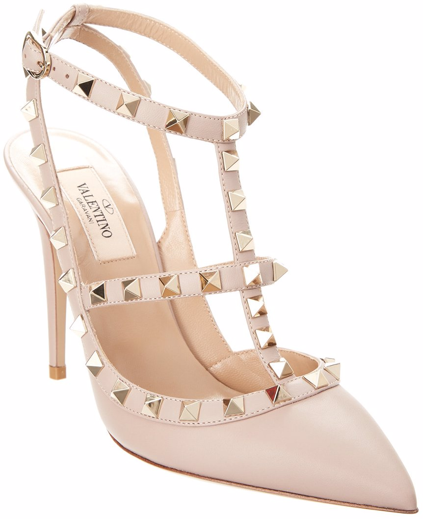 Valentino Cage Rockstud 100 Ankle Strap Leather Pump
