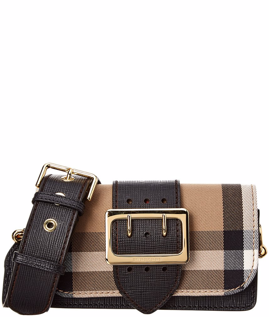 d90c3251bb7 MYSALE | Burberry Burberry Small Buckle Check & Leather Shoulder Bag