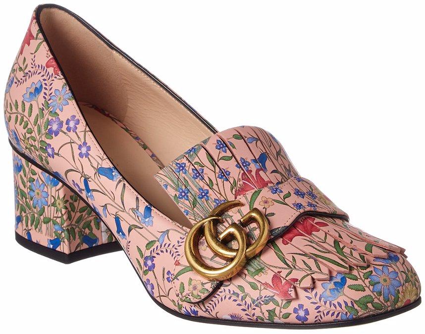 1f4187923 NZSALE | Gucci Gucci GG New Flora Printed Leather Mid-Heel Pump