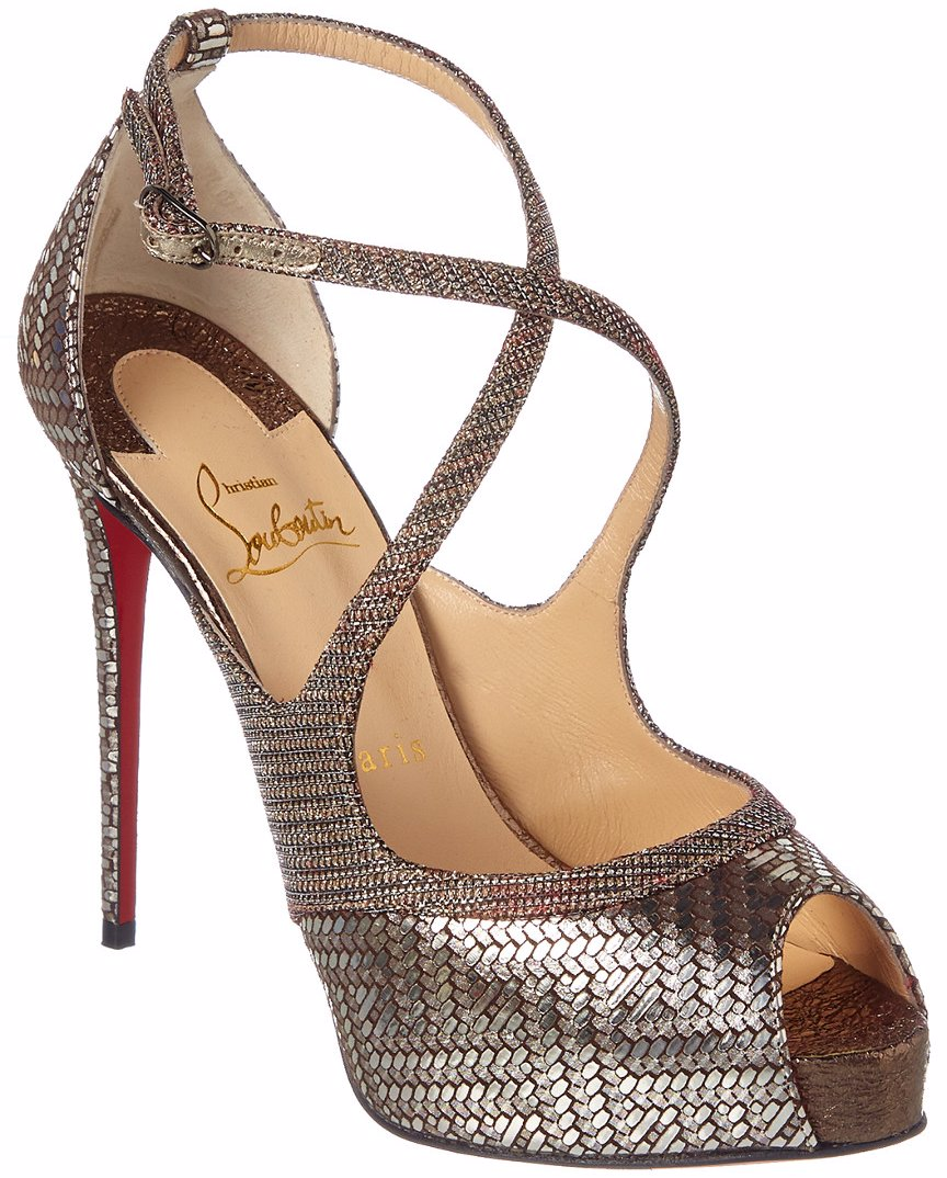 0aa364b4899 Preview with Zoom. Christian Louboutin. Christian Louboutin Mira Bella 120  Glittex   Leather Platform Sandal