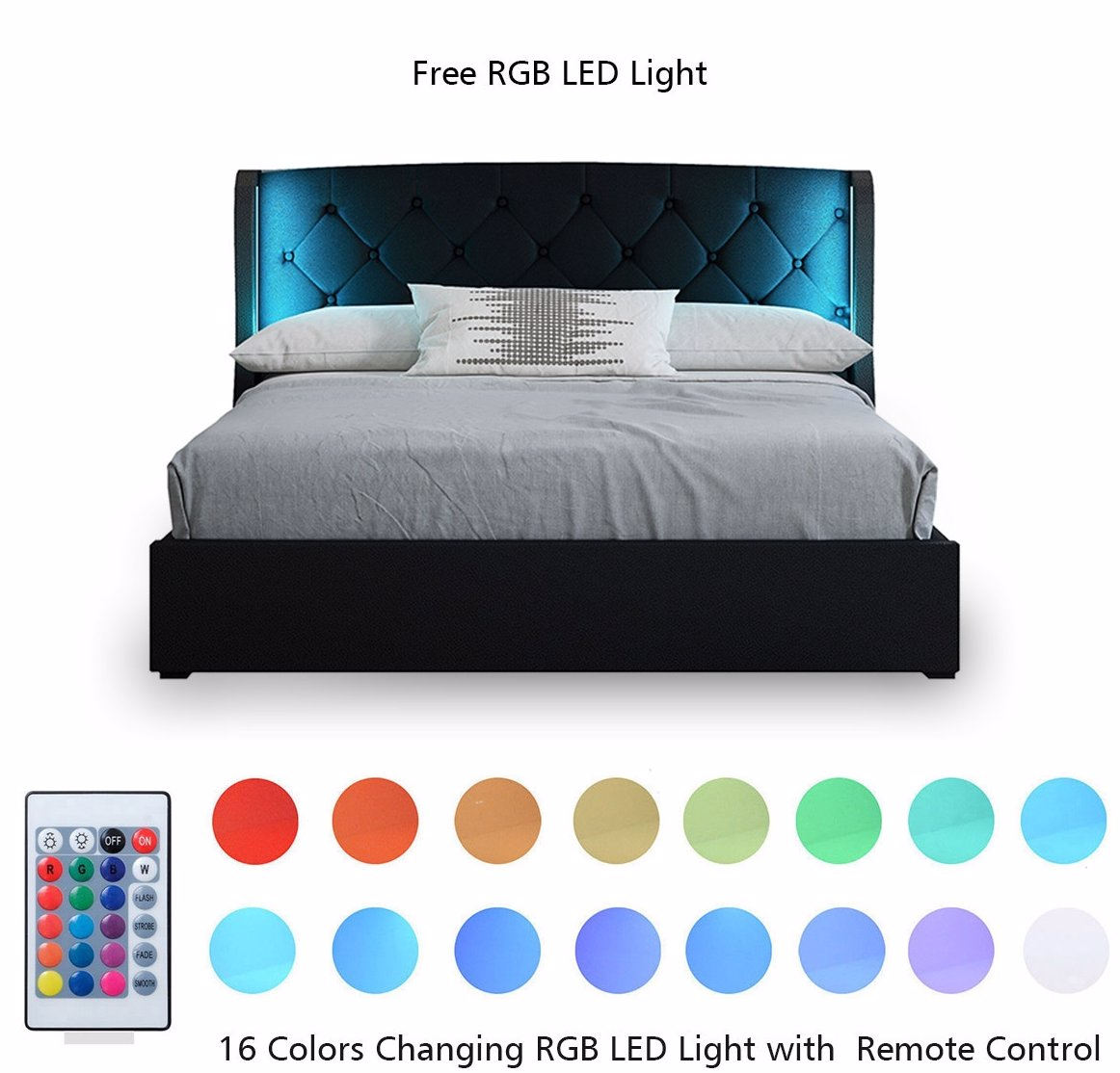 Ozsale Queen Pu Leather Gas Lift Storage Bed Frame Wood Bedroom Furniture With Led Lights Black