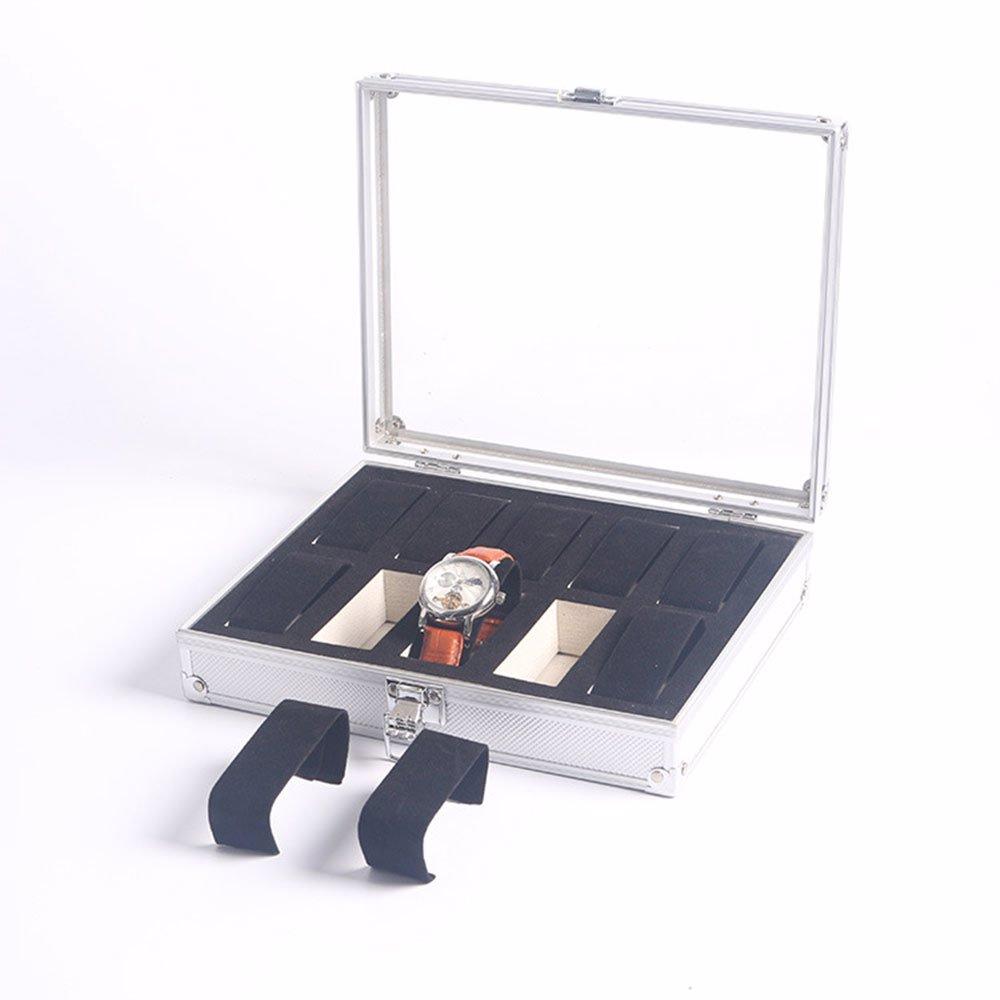 f7d342846387 10-Slot Aluminium Watch Display Storage Box