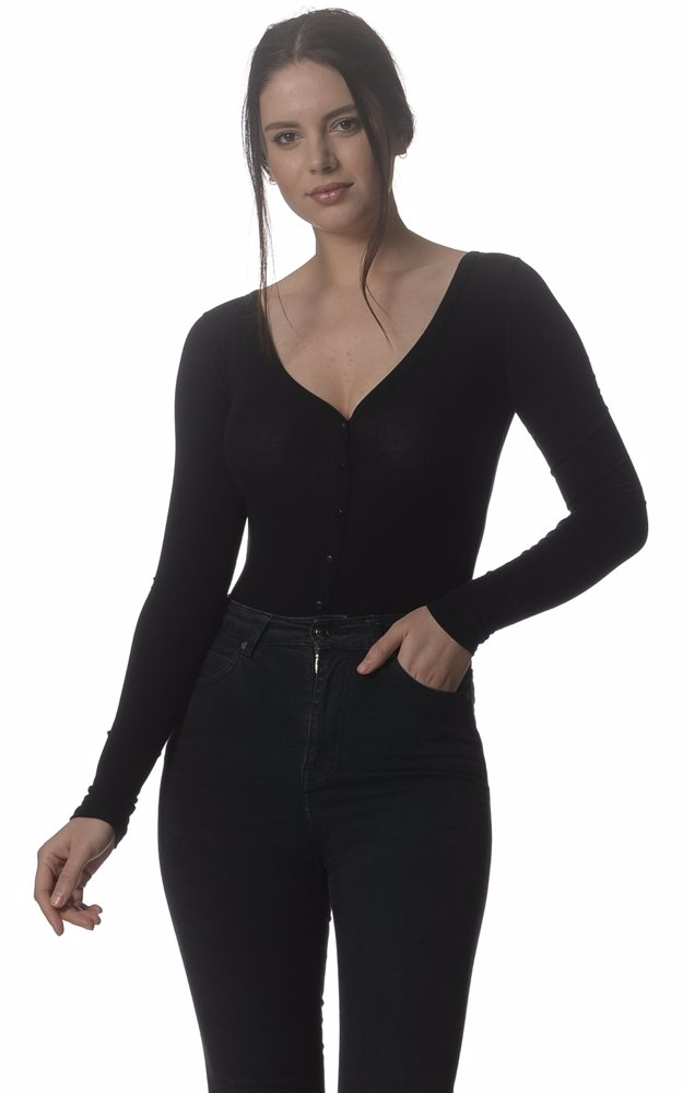 ce209813a13f7 Preview with Zoom. Kit And Ace. Black Plunge Long Sleeve Bodysuit