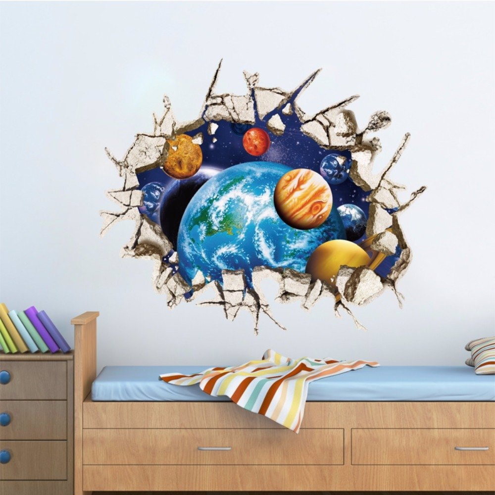 Singsale Removable Wall Stickers 3d Planet Wall Art