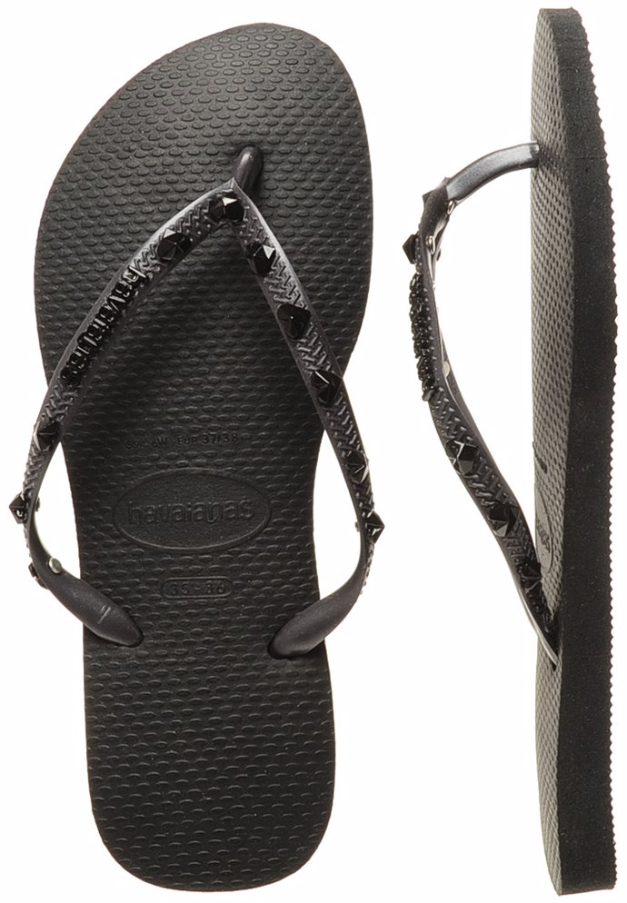 a3a2137e83aa38 Preview with Zoom. Havaianas. Black Slim Hardware Thongs
