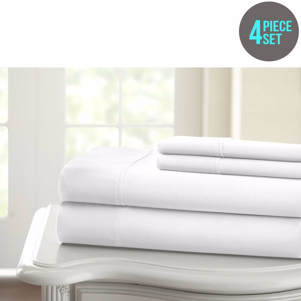 www.mysale.hk — 1200TC 100% Egyptian Cotton Solid 4 Piece Sheet Set ...