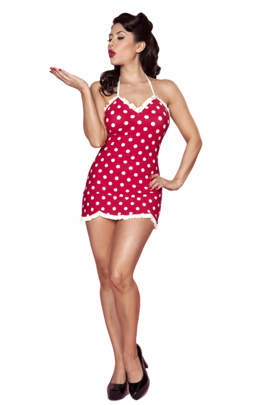 4b92fc348f Preview with Zoom. Loading... Bettie Page Swimwear. Spots 1 Piece Halter  Swimdress With Ruffle Red White