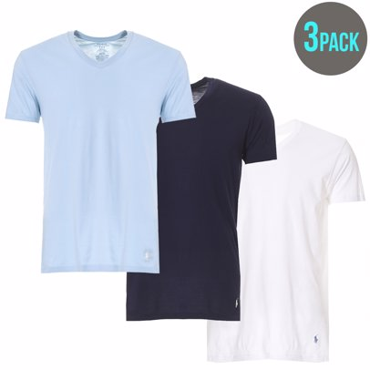 c282b147 MYSALE | Ralph Lauren 100% Cotton 3 Pack Basic Mens V-Neck T-Shirts White,  Surf Blue, and Cruise Navy