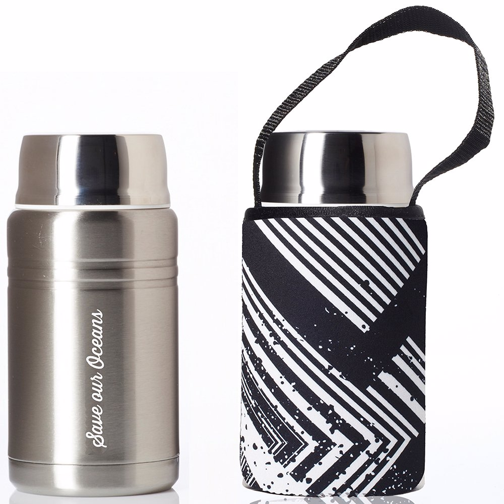 750ml Silver Foodie insulated lunch container + Carry Cover in Circuit Print
