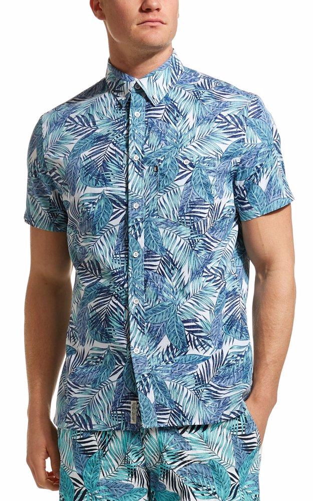 fa7ba0b3 BuyInvite | JAG Mint Paradise Palm Print Shirt