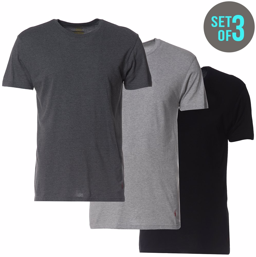 5dfae3b2aeca BuyInvite | Ralph Lauren 3 Pack Crew Neck T-Shirts Black, Charcoal ...