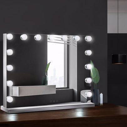 Led Lighted Vanity Beauty, Embellir Hollywood Makeup Mirror With Light Led Bulbs Vanity Beauty