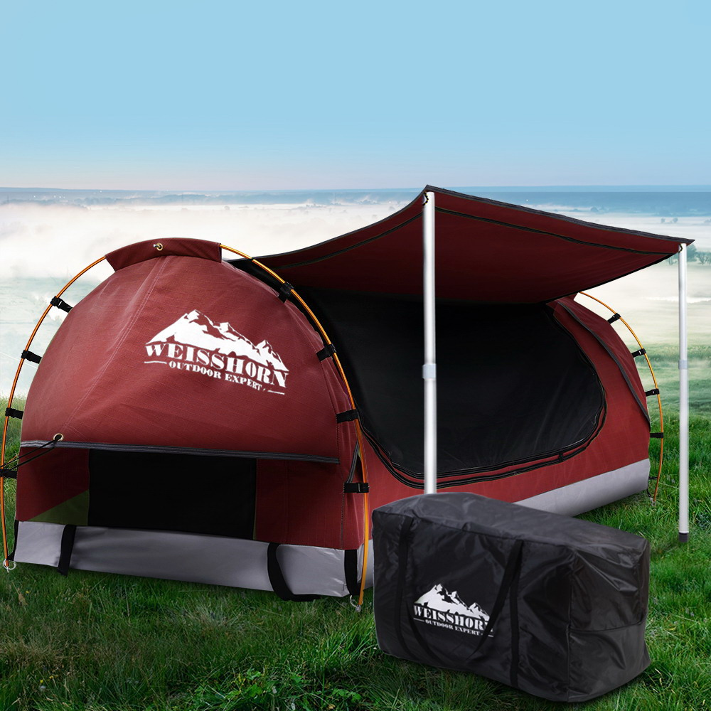 Weisshorn Double Swag Camping Swags Canvas Free Standing Dome Tent Red w/ 7CM Mattress