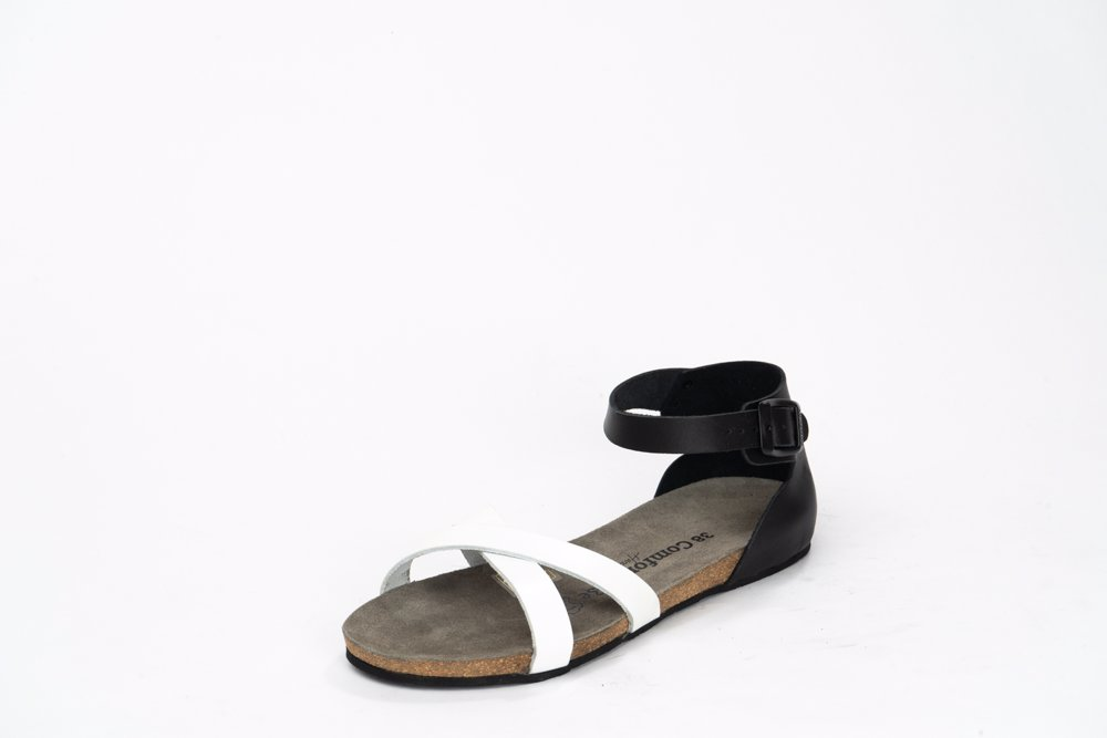 2850bf2adcb Preview with Zoom. Comfortfusse. Leather Womens Milano Sandals Black   White
