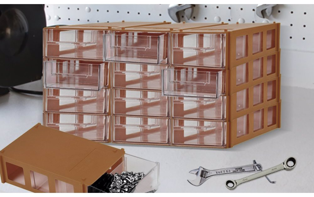 16 Drawer Home Storage Cabinet Unit Garage Small Parts Nail Screw Bits Organiser Brown
