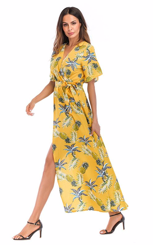 46ef71e1a7b2c Ellie And Pepper Dress Yellow Bottom Pineapple Flower V Neck Floral