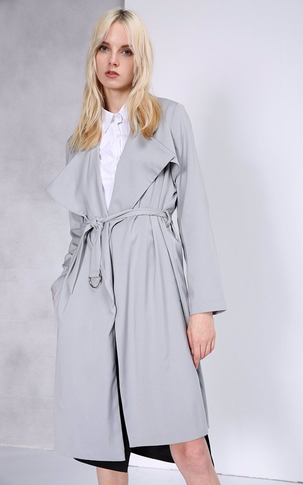 Preview with Zoom. Jasi   Co. Essential Trench Coat Grey 083cd7c9e7e