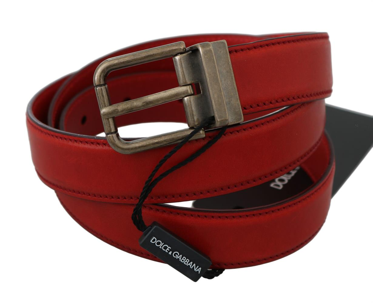 Dolce & Gabbana Red Bordeaux Leather Gray Metal Buckle Belt 90 cm / 36 Inches