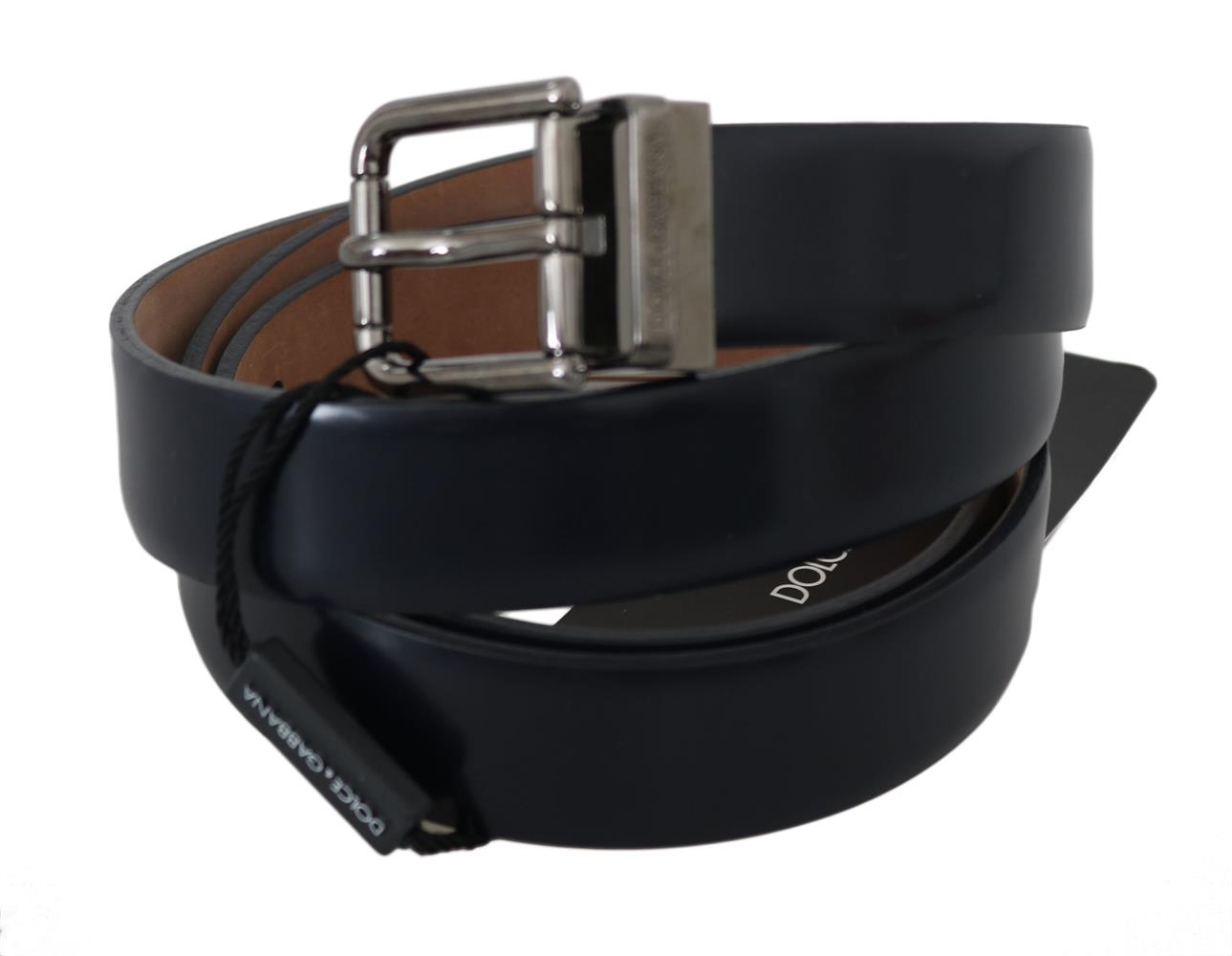 Dolce & Gabbana Blue Polished Engraved Silver Buckle Belt 105 cm / 42 Inches