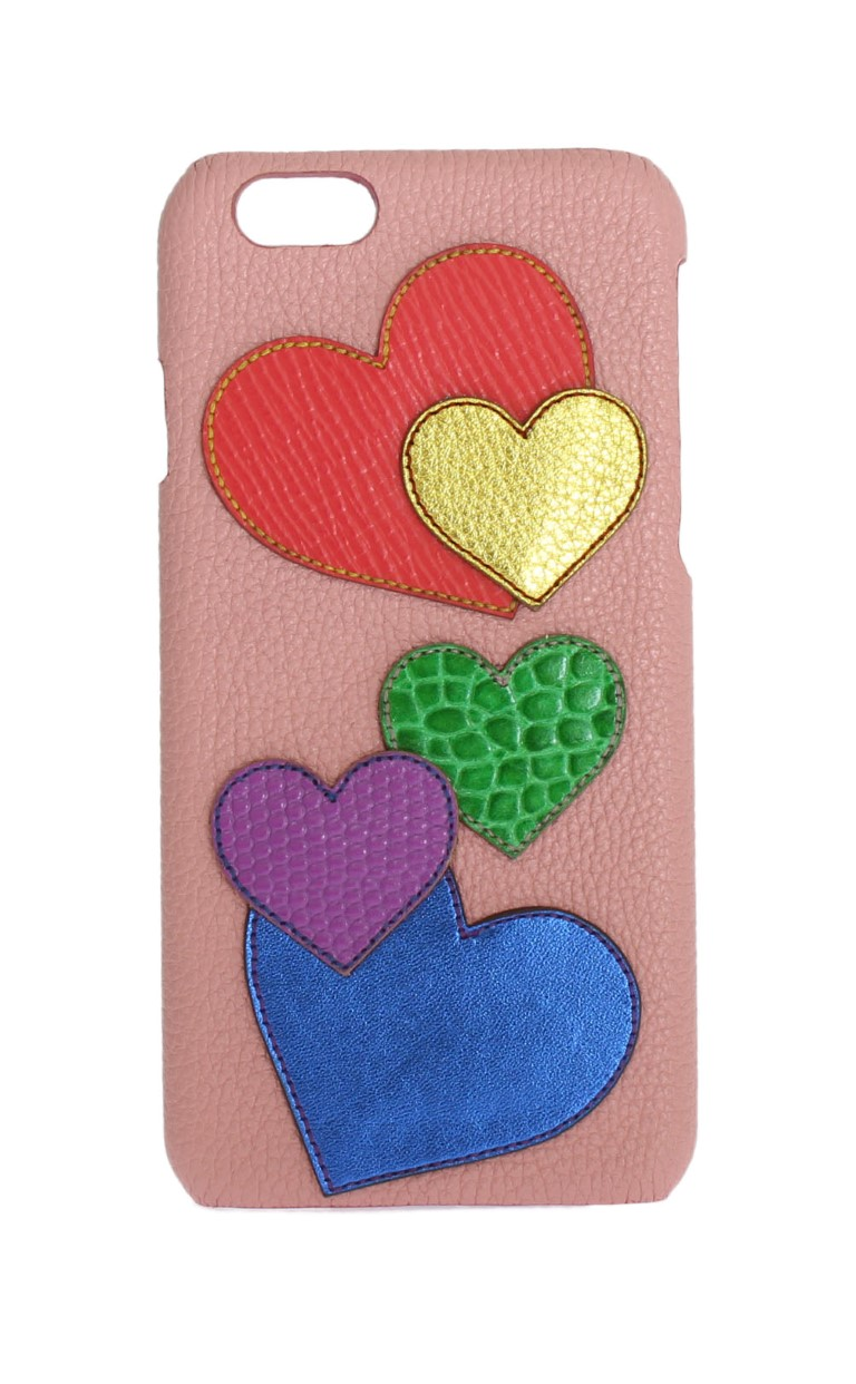 Dolce & Gabbana Pink Leather Heart Phone Cover One Size