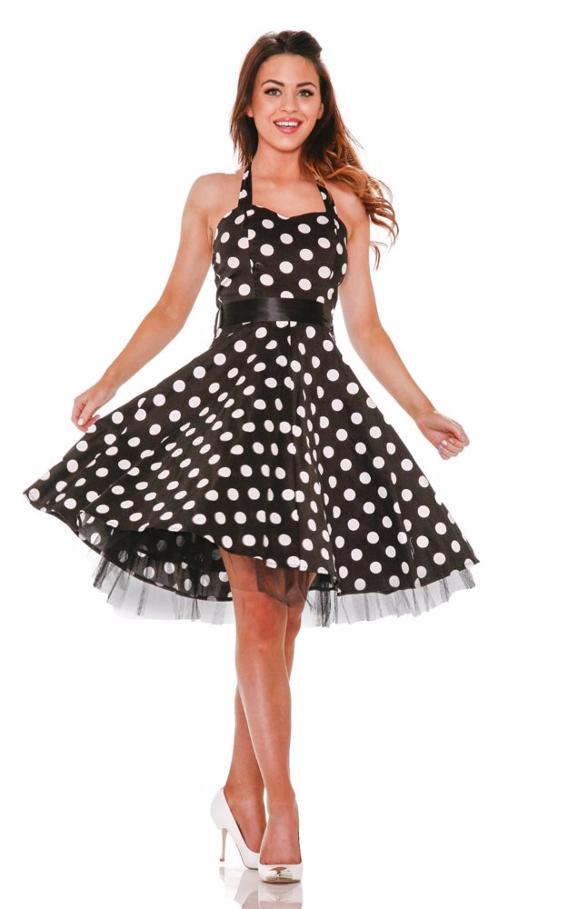 661ed1d8a998f MYSALE | Hearts & Roses London Plus Size Black White Big Dot Halter ...