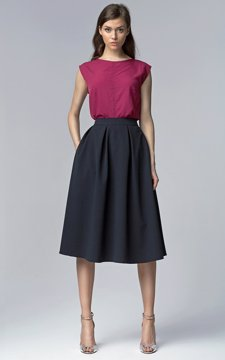 Over The Knee Length Skirt Navy