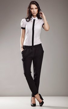 Cotton Slim Fit Pleated Front Trousers Black