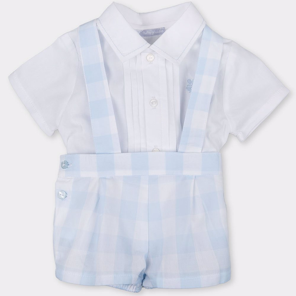 488782e8a0b8 SINGSALE | Tutto Piccolo Boys Shirt & Shorts In Optical White Sky Blue