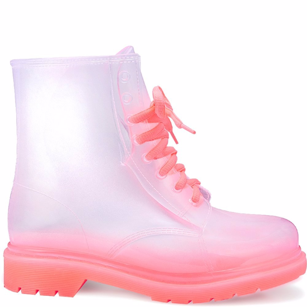 Lace Up Boots - Clear Pink